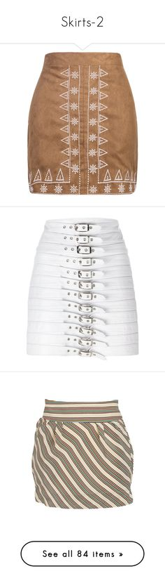 """""""Skirts-2"""" by missy-smallen ❤ liked on Polyvore featuring skirts, bottoms, saias, embroidered pencil skirt, faux suede skirt, pencil skirt, print pencil skirt, brown knee length skirt, white and white knee length skirt"""
