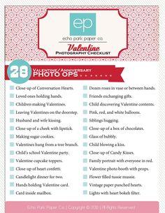 Valentine/Anniversary Photography Checklist