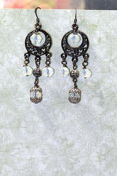 Moon Drops Gunmetal Black Chandelier Gypsy Earrings by shadesongs, $18.00