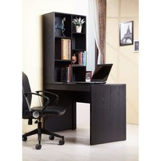 Furniture of America Warren Computer Desk with Bookshelf - Black - YNJ-227-1