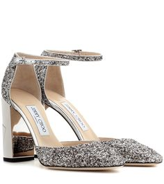 Jimmy Choo - Mabel 95 glittered-leather pumps - Opt for dazzling glamour with the Mabel 95 pumps from Jimmy Choo. Shining glittered-leather shines next to the metallic heel, while the delicate ankle strap adds femininity. Wear yours with a full skirt for a ladylike look. seen @ www.mytheresa.com...