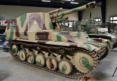 A German Wespe self propelled gun based on the Panzer 2 chassis and a model 18 light field howitzer.