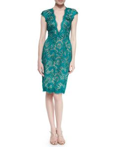 Lace Cap-Sleeve Sheath Dress, Emerald by Jovani at Neiman Marcus. Blue Sequin Dress, Sequin Cocktail Dress, Cocktail Dresses, Pretty Dresses, Beautiful Dresses, Emerald Dresses, Freakum Dress, Designer Cocktail Dress, Mob Dresses