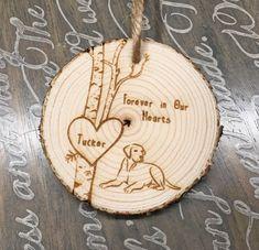 Pet Memorial Ornament Dog Sympathy Gift Loss of Pet Gift Wood Burning Crafts, Wood Burning Patterns, Wood Burning Art, Wood Crafts, Dog Christmas Ornaments, Memorial Ornaments, Christmas Wood, Baby Ornaments, Dremel