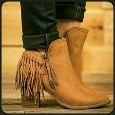 👢SUEDE BOOTIES👢 - 📦NIB📦 👢Suede booties  👢 Fringe around the back  👢Zipper on the outside  👢Instep zipper  👢Color is Chestnut😍🙌💗😃👌👢😊👍🌻😘❤✌ BOTIQUE  Shoes Ankle Boots & Booties