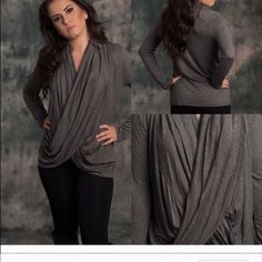 Grey draped blouse Large Lewboutiquetwo Tops Blouses