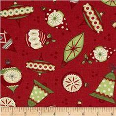Debbie Mumm Jolly Christmas Ornaments Red