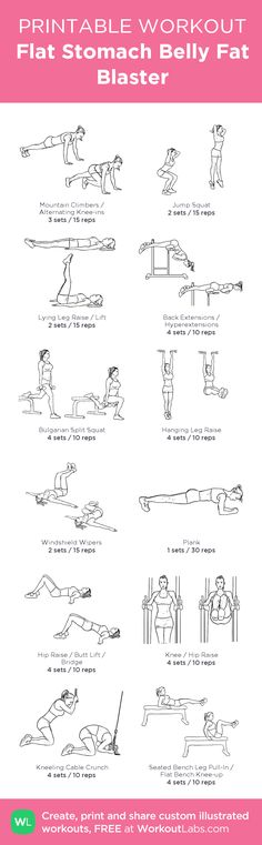 Flat Stomach Belly Fat Blaster – my custom workout created at WorkoutLabs.com • Click through to download as printable PDF! #customworkout