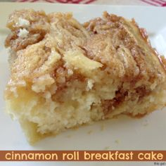 Cinnamon Roll Breakfast Cake - This Gal Cooks. Thinking I could add some apple slices to the cinnamon topping for a yummy fall treat.
