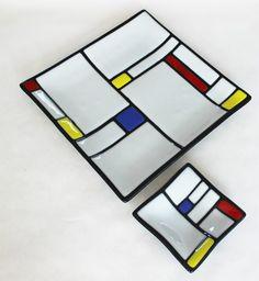 GLASS CHIP and DIP 2 Piece Set Mondrian by SunflowerGlassworks
