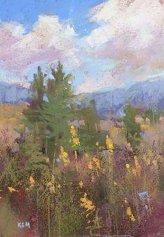 Blue Ridge Mountains Plein Air Landscape by KarenMargulisFineArt, $100.00