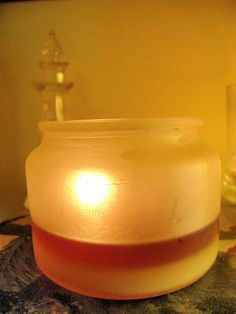 This is how our candles burn...cleanly (no black soot) and completely.  This is our Refillable 16 oz. Apothecary Jar Candle.
