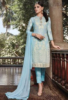 Blue Georgette Designer Straight Suit With Embroidery Work 36249: