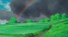 Beautiful background artwork for Hayao Miyazaki's masterpiece 'The Wind Rises' Rainbow Background, Animation Background, Rainbow After The Rain, Rain Illustration, Le Vent Se Leve, Wind Rises, Film D, Studio Ghibli Movies, Hayao Miyazaki
