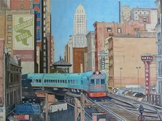David Reilly 'The Electroliner' - Chicago 1940 Train Tracks, Train Rides, Chicago Buildings, Railroad Photography, Train Art, Chicago Photos, Magazine Illustration, Happy Pictures, Electric Locomotive