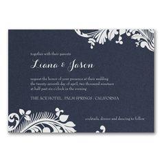 Blue and White Wedding Ideas - Damask Scroll - Invitation - Navy Shimmer > Wedding Invitations | Occasions In Print, LLC | SCOTTSDALE, AZ (Invitation Link - http://occasionsinprint.carlsoncraft.com/Wedding/Wedding-Invitations/3214-MM39329NS-Damask-Scroll--Invitation--Navy-Shimmer.pro)