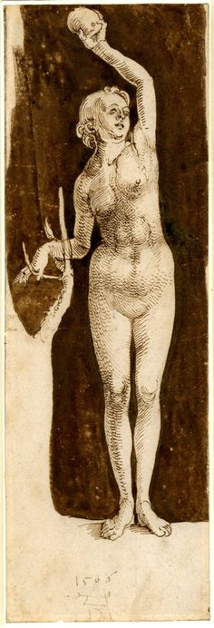Albrecht Dürer, 1471-1528, German, Study for the figure of Eve, 1506. Pen and brown ink, 28.4 x 9.5 cm. British Museum, London. German Renaissance.