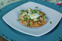 """Chicken and Cheese """"Tostadas""""        Serves: 3-4 (makes 8 tostadas)      Ingredients  3 cups shredded or diced cooked chicken (slow cook, ro..."""