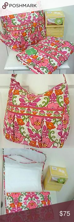 4 pc SET Mom baby diaper bag changing pad NWT This is a 4 piece set by Vera Bradley in the lovely Lilli Bell pattern.  The bag is a Mom's Day Out baby bag, with adjustable long crossbody strap and washable lining and two large front pockets.  Gently used with no signs of wear except a couple of smudges on bottom and strap. No discoloration on the white. $78. NWT changing pad clutch $36 and two boxes, $28 each, containing a NWT onesie.  I have size 3-6 mons and 9-12 mons. Vera Bradley Bags…