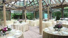 A glam reception in the Glass House for Ashley + Mike's Reception