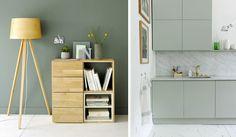 Le vert de gris.  Tendance couleur. Une couleur douce pour le printemps. Se marie très bien avec les couleurs claires.  Vert de gris pour les murs et la cuisine.
