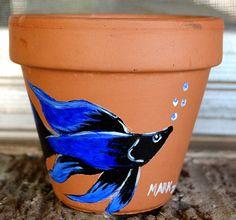 Blue Boy 6 inch flower pot acrylic