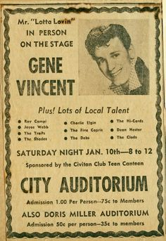 Gene Vincent on Stage in Austin, TX Plus! Music Posters, Concert Posters, Country Blue, Country Music, 1950s Rock And Roll, 50s Music, Newspaper Headlines, Rock N Roll Music, Rockn Roll