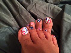 Toenail art, patriotic toenails, July red,white, and blue Pedicure Nail Designs, Toe Nail Designs, Pedicure Nails, Mani Pedi, Pedicures, Funky Nails, Dope Nails, Nail Tech School, Blue Toe Nails