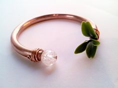 Quartz Copper Cuff Bangle with Green Leaves by CraneGoose on Etsy