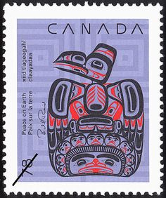Stamp: Children of the Raven by Bill Reid (Canada) (Christmas (1990), Native…