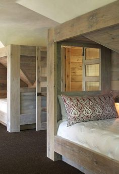 """It sounds wonderful as it rolls off your tongue."""" It looks wonder. Rustic Barn Homes, Decorating Blogs, Beautiful Bedrooms, Beautiful Space, Lodges, Bunk Beds, Pond, Cottage, Architecture"""