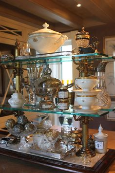 """""""One of my favorite things in my home is the Patisserie stand on my kitchen island. I love re-doing it for every season.  It gives me the chance to rotate some of my treasures and enjoy them  for a little while."""""""
