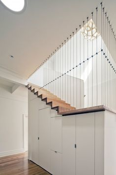 Interesting open stair design but you don't have to worry about falling off the side.