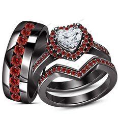 Men's & Women's 1.60 Carat Heart Shape Diamond & Garnet Trio Engagement Ring Set #aonedesigns