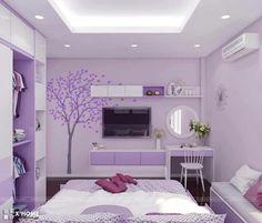 this is cute💜 Purple Bedroom Design, Purple Bedrooms, Room Design Bedroom, Bedroom Furniture Design, Small Room Bedroom, Room Ideas Bedroom, Home Room Design, Bedroom Colors, Home Decor Bedroom