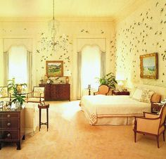 Nancy Reagan's bedroom at the White House decorated by Ted Graber