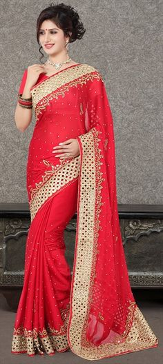 182725 Red and Maroon color family Bridal Wedding Sarees, Party Wear Sarees in Faux Chiffon, Satin fabric with Border, Stone work with…
