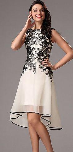 0930ec698c62 Sleeveless Black Lace Applique Cocktail Dress Party Dress (04160800)