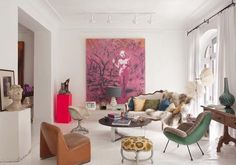 Eclectic and Layered Madrid design ideas house design room design design interior Artwork For Living Room, Eclectic Living Room, Home Living Room, Living Room Decor, Living Spaces, Estilo Interior, Home Art, Interior Inspiration, Sweet Home