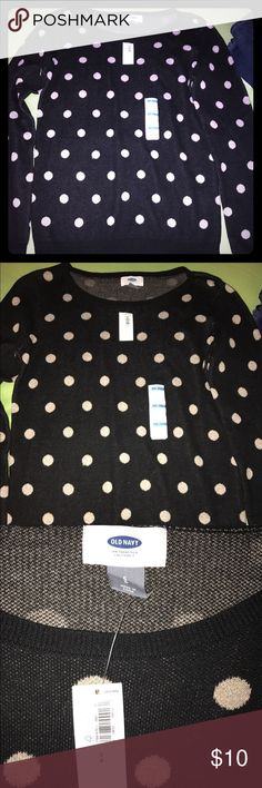 Old Navy Women's Sweater Size Sm Petite New with tags.. 100% cotton  Black with tan polka dots  Comes from smoke free home Old Navy Sweaters Crew & Scoop Necks