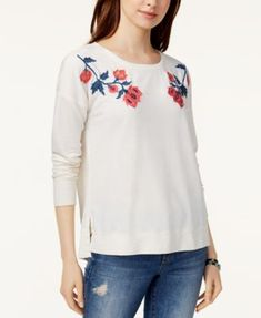 Lucky Brand Embroidered Sweatshirt Created for Macy's - Tan/Beige XS