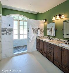 This master bathroom has an awe-inspiring walk-in shower! The Butler Ridge #1320-D. http://www.dongardner.com/house-plan/1320-D/the-butler-ridge. #MasterBathroom #Bathroom #DreamHouse