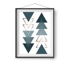 Triangles Art, Geometric Printable Art, Teal & copper Print, Scandinavian Art, Abstract Print, Nordic Decor, Print Avenue, Large Poster