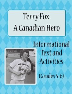 """""""Terry Fox: A Canadian Hero"""" includes 2 reading passages and nine activities will work well in an English Language Arts class as well as Social St. Teaching Social Studies, Teaching Resources, Teaching Ideas, Library Activities, How To Get Followers, English Reading, Canadian History, English Language Arts, Reading Passages"""
