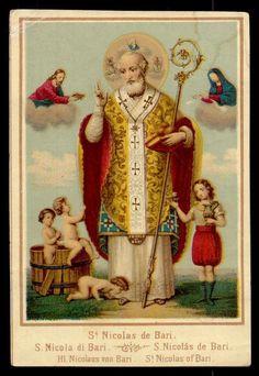 ST NICHOLAS OF BARI Antique Chromolitho HOLY CARD