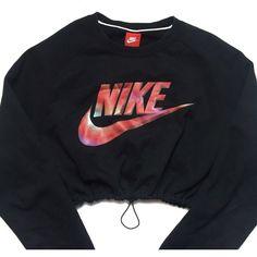 Reworked Nike Swoosh Crop Sweatshirt ($48) ❤ liked on Polyvore featuring tops, hoodies, sweatshirts, crop top, nike sweatshirts, nike, cropped sweatshirt and nike top