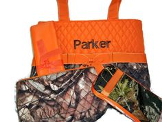 PERSONALIZED 4 Piece Diaper Bag Set with Name - Baby Boy Camo and Orange Personalized Diaper Bag, Pouch, Wipe Case, and Changing Pad on Etsy, $45.00