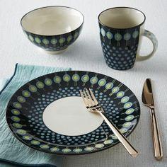 Potter's Workshop Dinnerware Set - Dark Green   West Elm