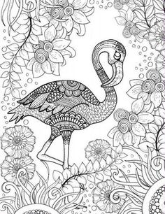Free printable adult coloring page of pink Flamingo bird: