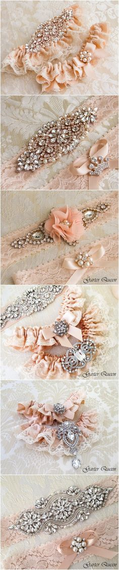 Blush Ivory Lace Wedding Garter Sets / http://www.deerpearlflowers.com/wedding-garters-sets-from-etsy/3/
